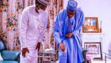 Buhari and Matawalle check the GOLD Bars and Precious Stones from Zamfara