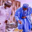 Buhari and Matawalle check the GOLD Bars and Precious Stones from Zamfara