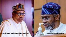 President Muhammadu Buhari and The Speaker, Femi Gbajabiamila Collage Photo