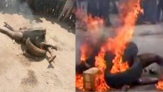 Two Suspected Kidnappers Burnt in Osun (Photo)