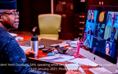 Vice President Yemi Osinbajo, SAN, speaking while being briefed on the report by a team of scientists. 11th January, 2021. Photos: State House