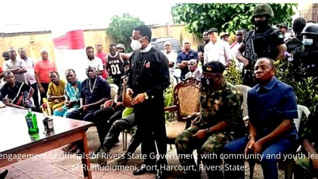 The engagement of officials of Rivers State Government with community and youth leaders of Rumuolumeni, Port Harcourt, Rivers State. Photo
