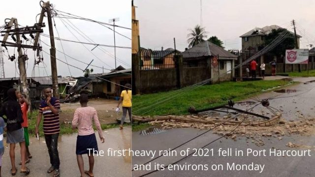 The first heavy rain of 2021 fell in Port Harcourt and its environs on Monday photo