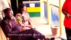 Okorocha with his wife, Nkechi at the police station Photo