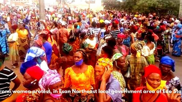 Uromi women protest, in Esan Northeast local government area of Edo State Photo