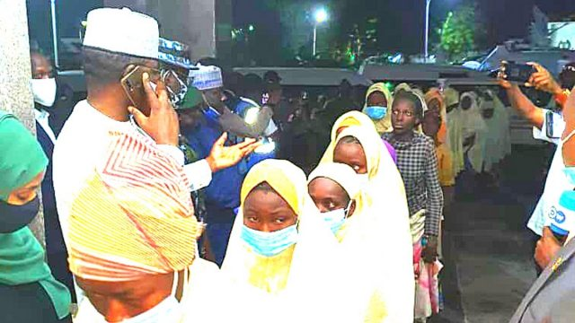 Bello Matawalle with the abducted students Photo