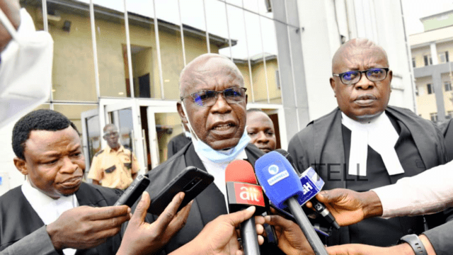 PHOTO CAPTION: Donald Chika Denwigwe, SAN (middle) lead counsel to Government of Rivers State and Ken C.O. Njemanze, SAN (left) briefing journalists after the Federal High Court in Port Harcourt on Monday declared FIRS collection of Value Added Tax in Rivers State unconstitutional.